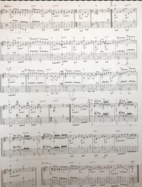 ソロギター譜の例(モザイク加工あり)