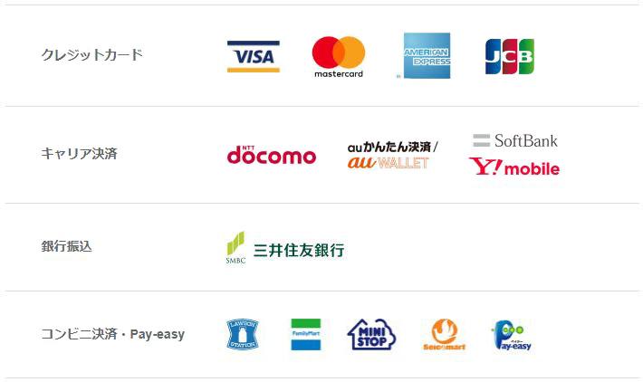 クレジットカード決済:VISA、mastercard、AMERICAN EXPRESS、JCB / 携帯キャリア決済:NTT docomo、auかんたん決済/auWALLET、SoftBank、Y!mobile / 銀行振込:SMBC三井住友銀行 / コンビニ決済・Pay-easy:ローソン、ファミリーマート、ミニストップ、セイコーマート、Pay-easy