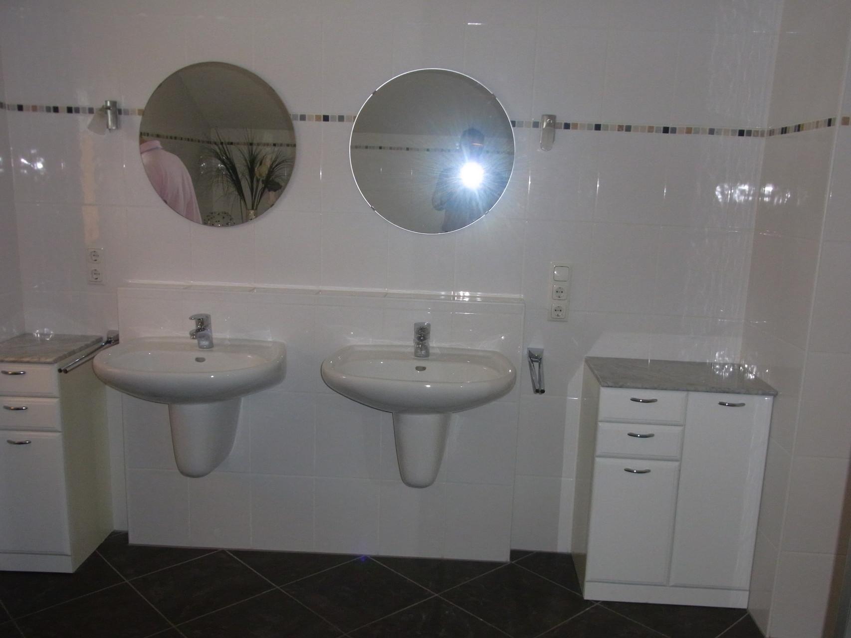 Vorher: getrennte Waschbecken