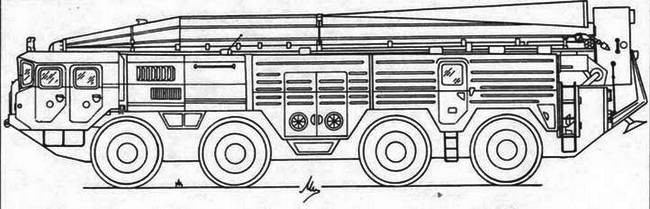 Пусковая установка комплекса «Темп-С» на базе МАЗ-543