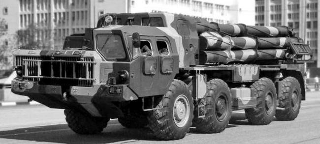 Модернизированная установка 9А52-2 системы 9К58-2 «Смерч-М» на базе МАЗ-543М. 1989 год