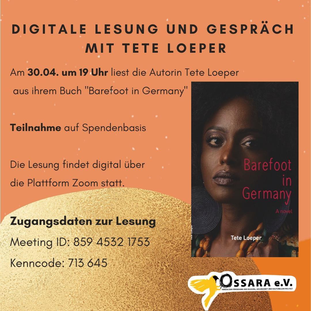 Digitale Lesung und Gespräch mit der Autorin Tete Loeper