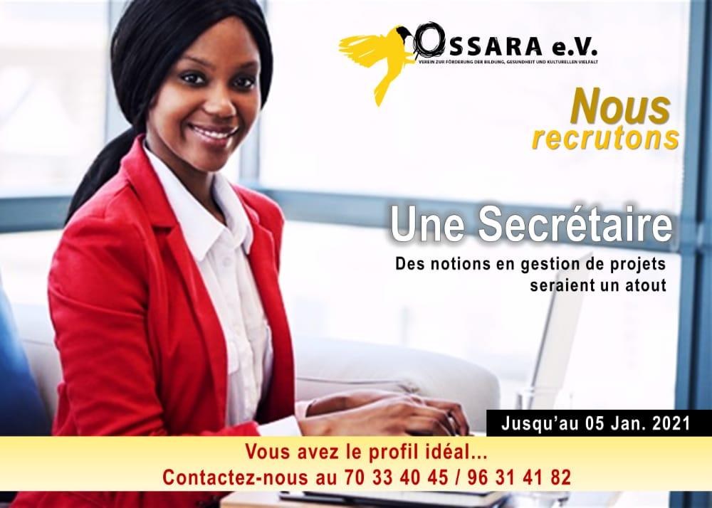 Recrutement d'une secrétaire