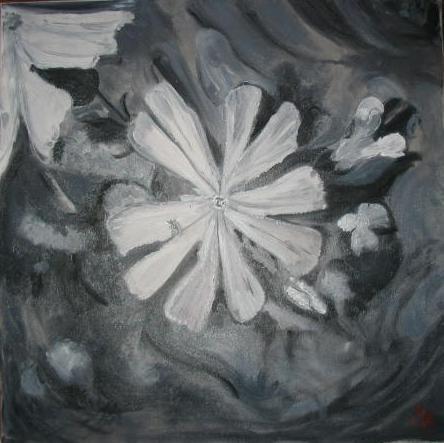 """peinture à l'huile """"noir et blanc"""""""