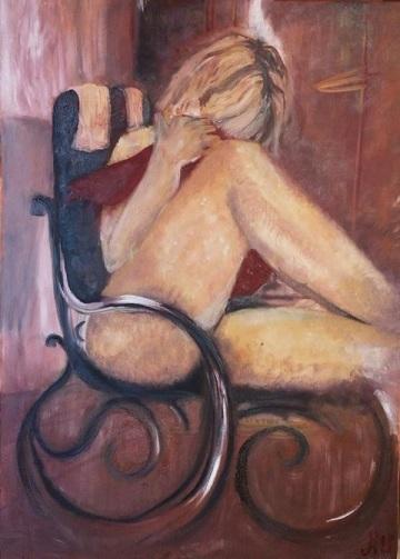 """peinture à l'huile """" le rocking chair"""""""