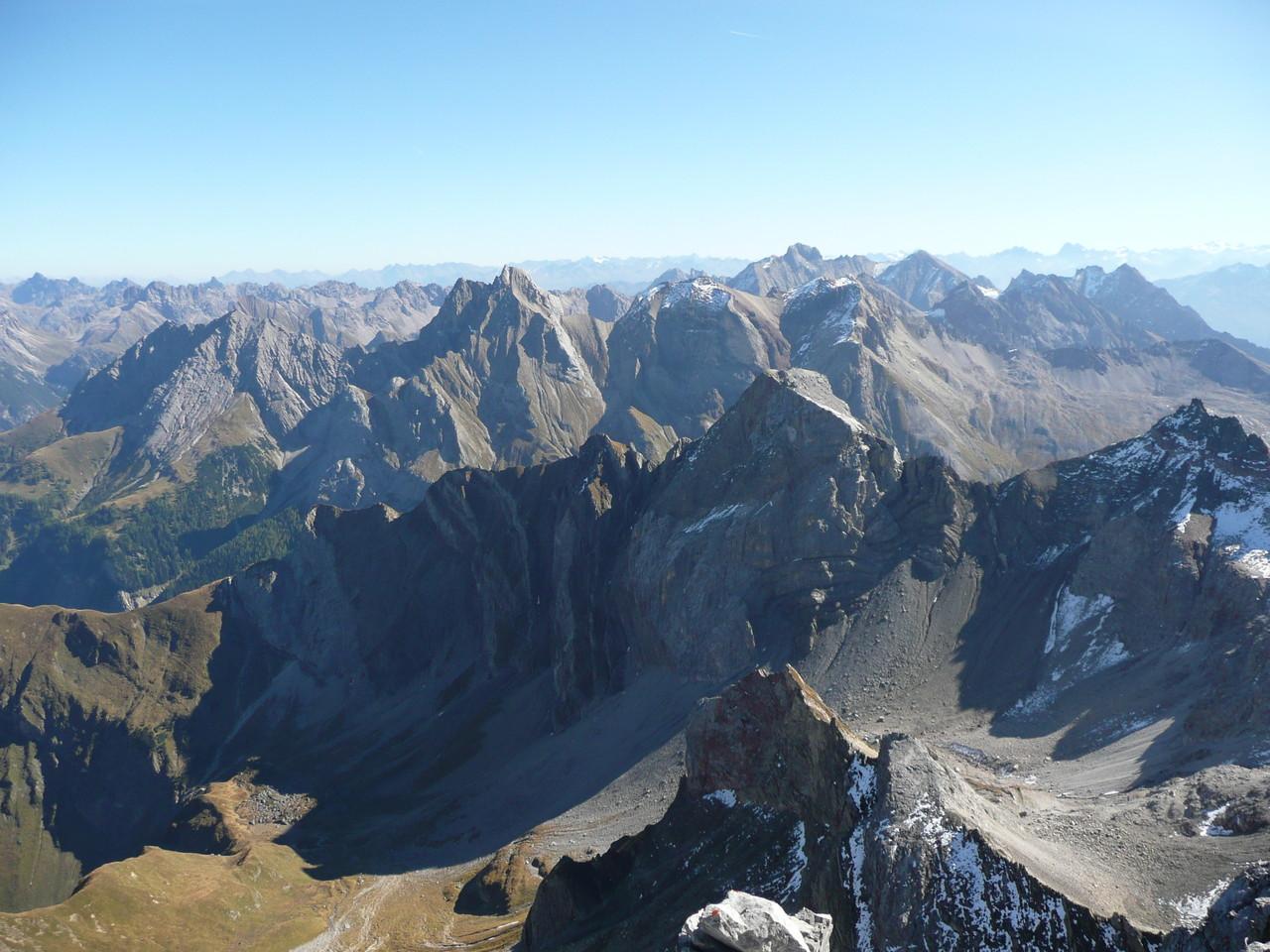 Blick zu den Großen Gipfeln der Lechtaler Alpen