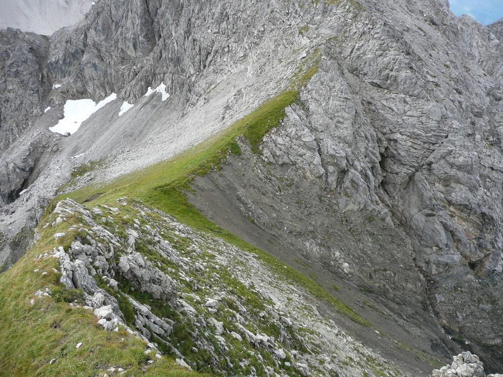 Blick in den Sattel zwischen Linkerskopf und Rotgundspitze
