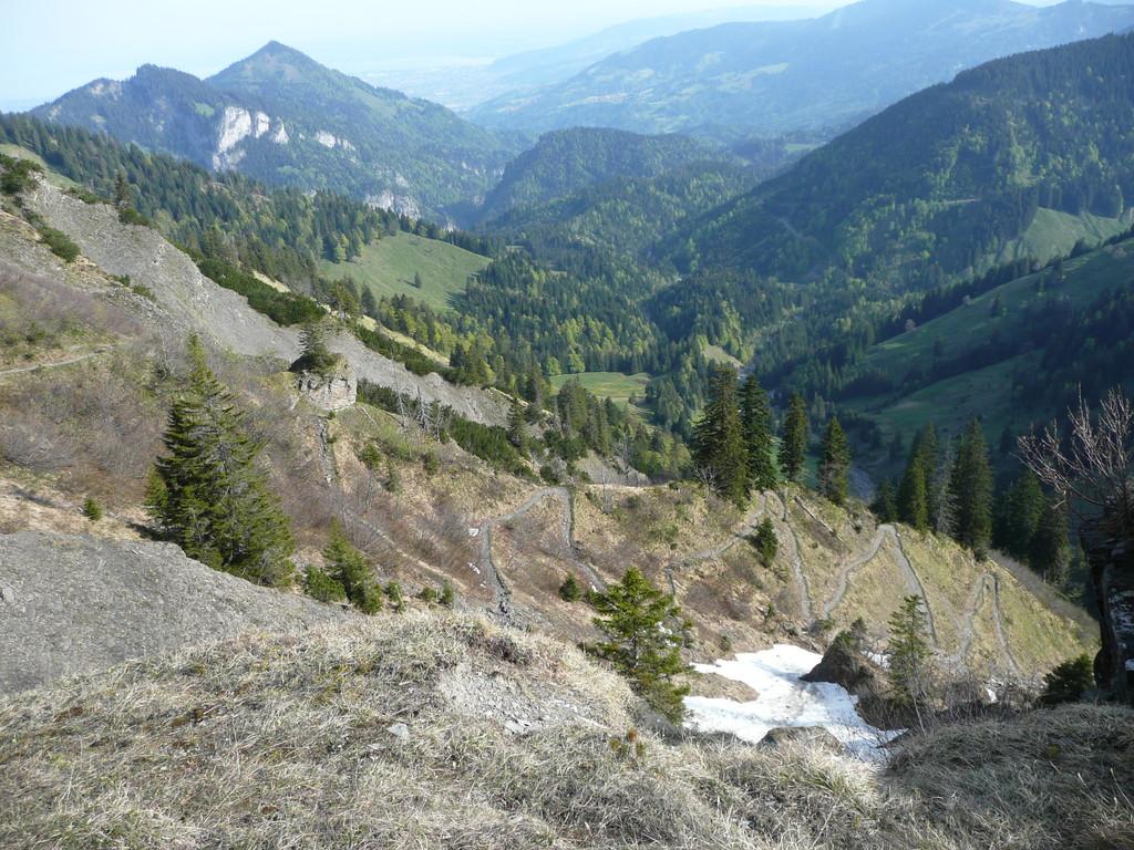 Aufstiegsweg mit Blick zum Bodensee