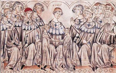 """Kaiserhochzeit, die Tage in Speyer  Rechts Kaiser Heinrich VII. und Kaiserin Margarethe - als Römischer König und Römische Königin, als die sie bei der """"Kaiserhochzeit"""" ihres Sohnes gewählt waren."""