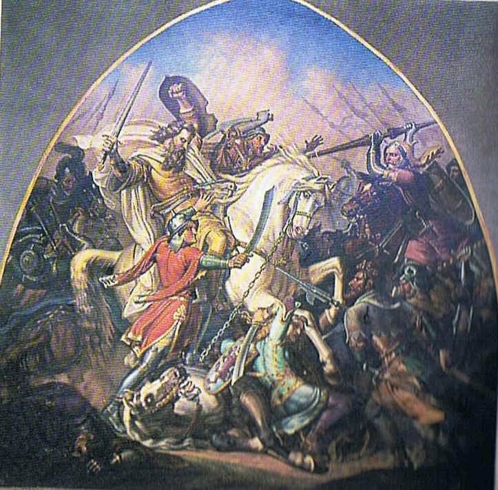 Tod König Johanns in der Schlacht von Crécys.  Sein Pferd ist angekettet an die Pferde seiner letzten beiden getreuen Ritter, die bereits gefallen sind.