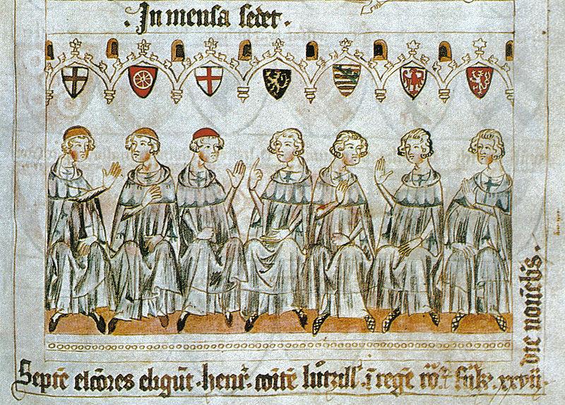 Die sieben Kurfürsten wählen Heinrich von Luxemburg zum König. Links im Bild, kenntlich an ihren Kopfbedeckungen, die drei Kurfürsten, die zugleich Erzbischöfe sind. (Köln, Mainz, Trier).