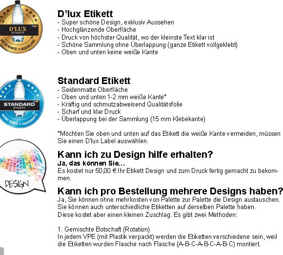 Materialangabe zu D`Lux, und Standard Etikett