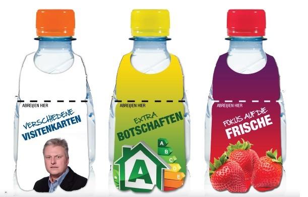 Flaschenanhänger für Extra Botschaften oder als abreißbare Visitenkarte, beidseitig bedruckbar