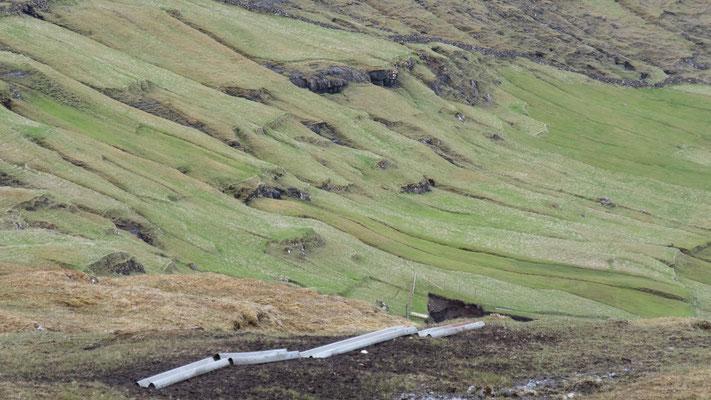 (Einstige?) Felder um die Siedlungen.