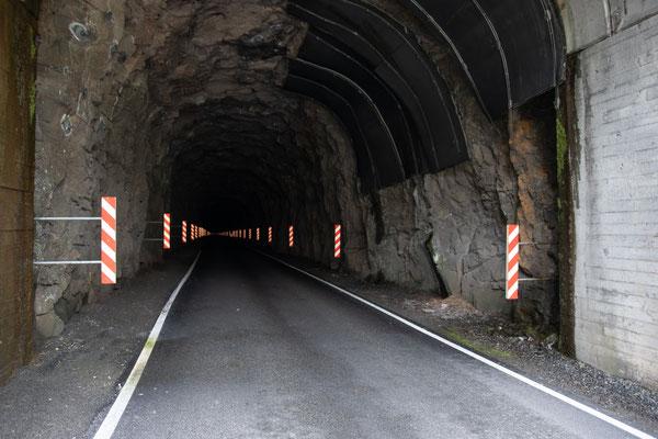 Unser erster nicht beleuchteter Tunnel, den wir durchqueren. Da dieser kaum eine Steigung aufweist fällt genug Licht auf die Reflektormarker, so dass man den Weg auchohne Fahrradlicht finden würde.