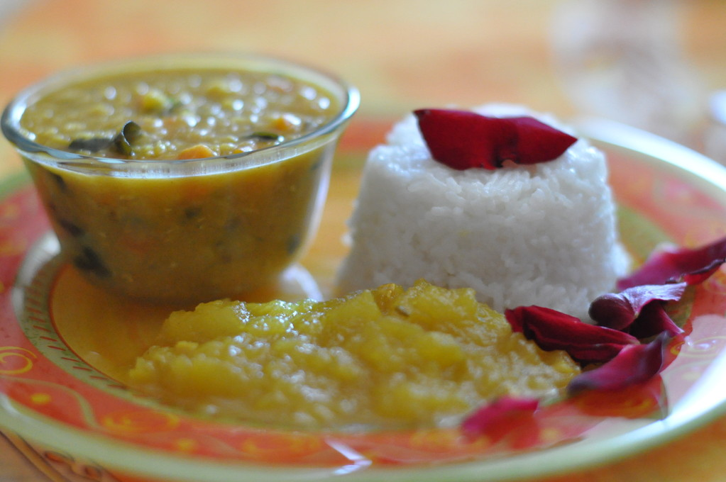 Dal, rice, apple chutney