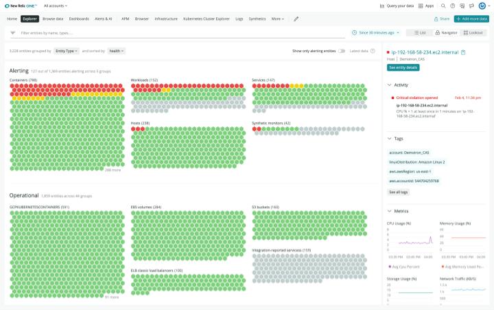 Der Zustand jeder Anwendung, jedes Dienstes, jedes Containers, jeder Funktion und jedes Hosts wird in Ampelfarben angezeigt.