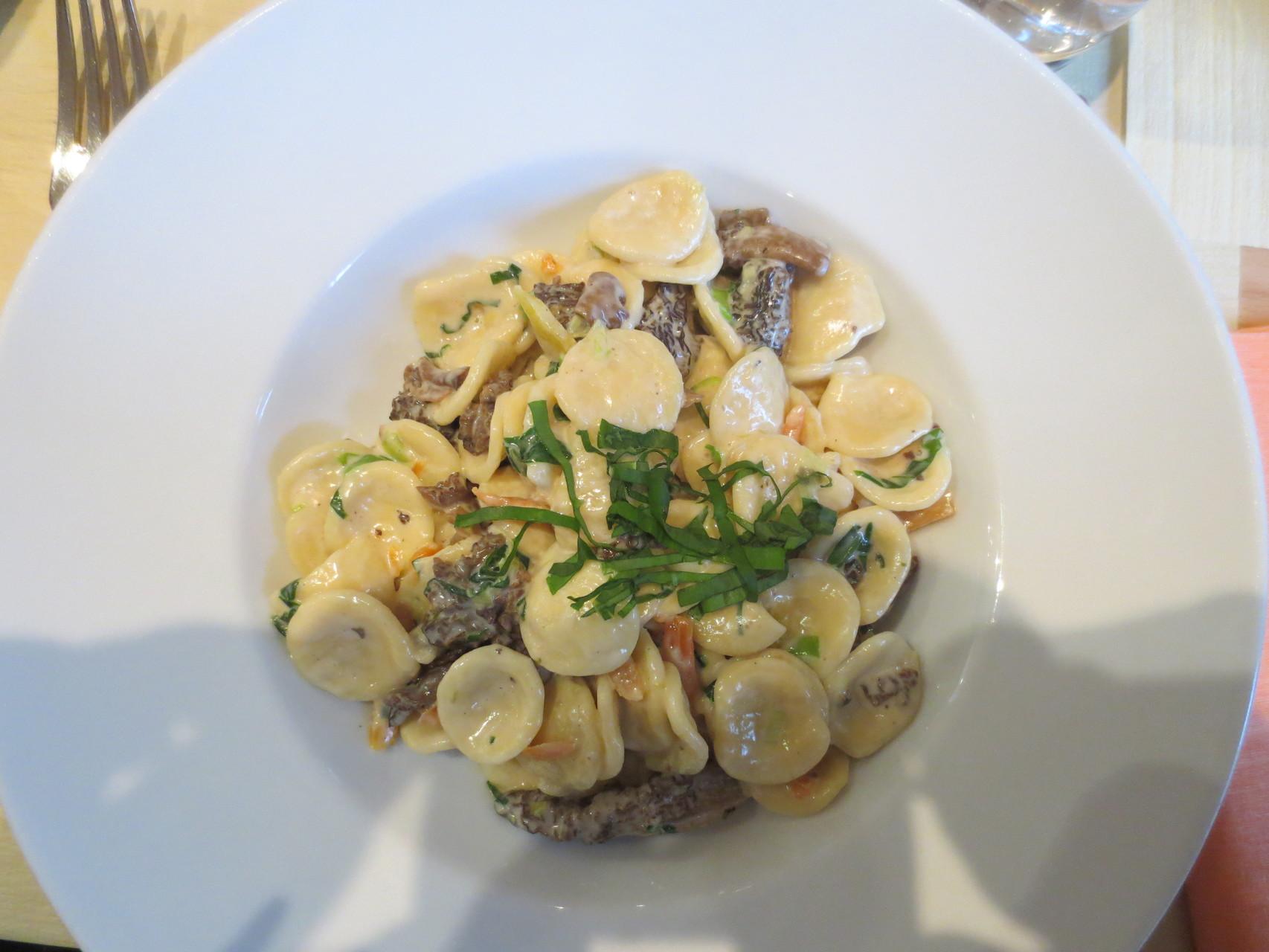 Menu VDSV-Business-Lunch: Orecchiette Frühlingsmorcheln (Teigwaren-Gericht mit gedünsteten Morcheln, Egerkinger Bärlauch, Frühlingszwiebeln und Karottenstreifen)