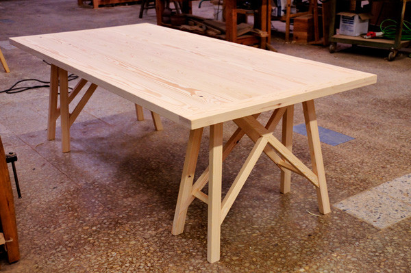 Sawhorse table at workshop