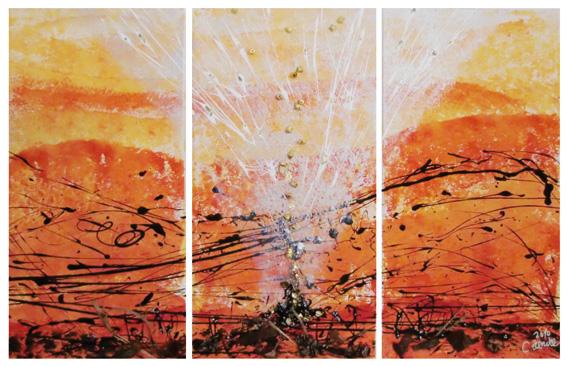 CO-G3 Gold in uns / Acryl auf Leinwand  3x  30x60 / mit Gold, Steine, Rinde ... / unverkäuflich