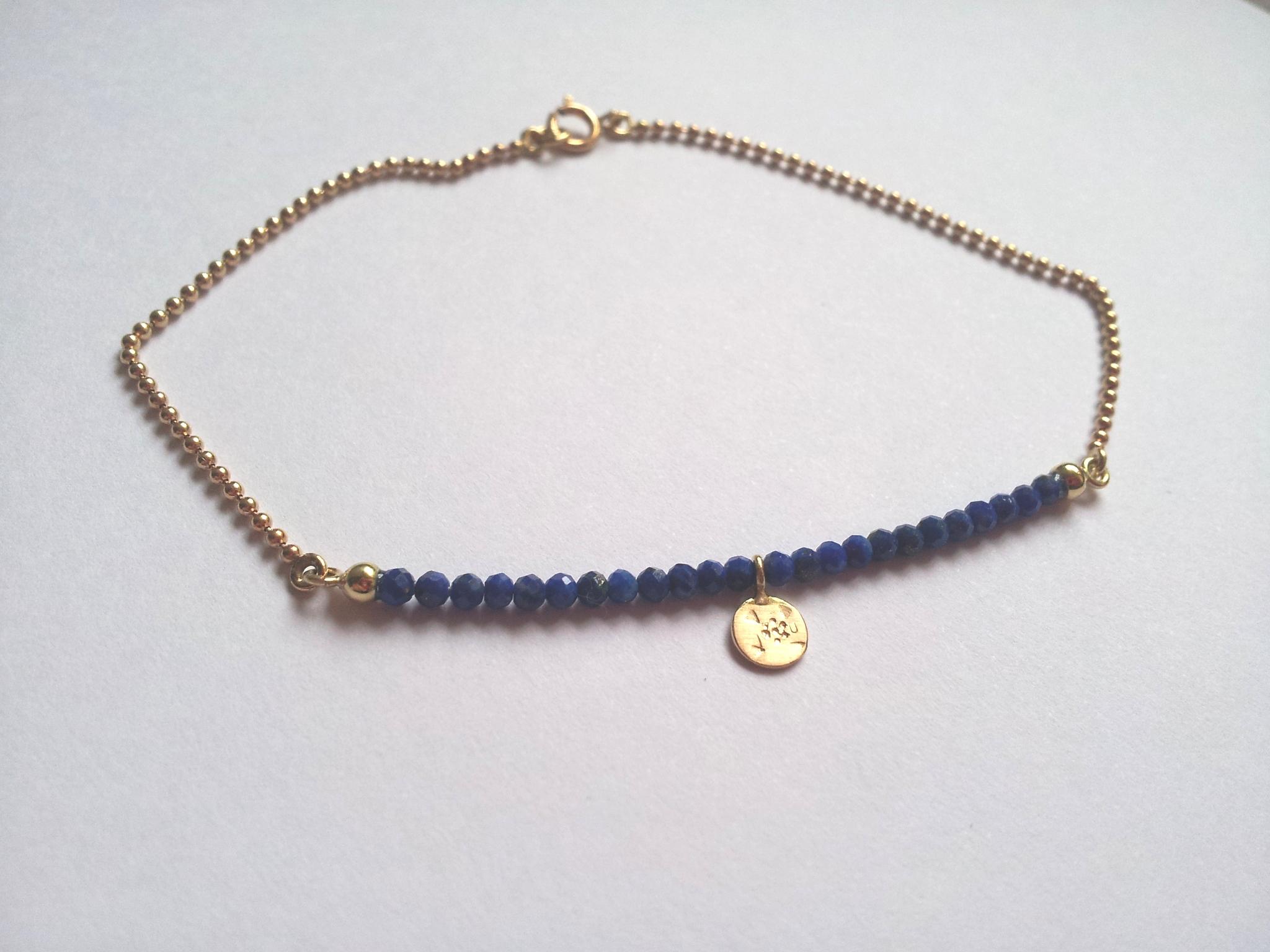 Armkette in Gelbgold 750 mit Lapislazuli