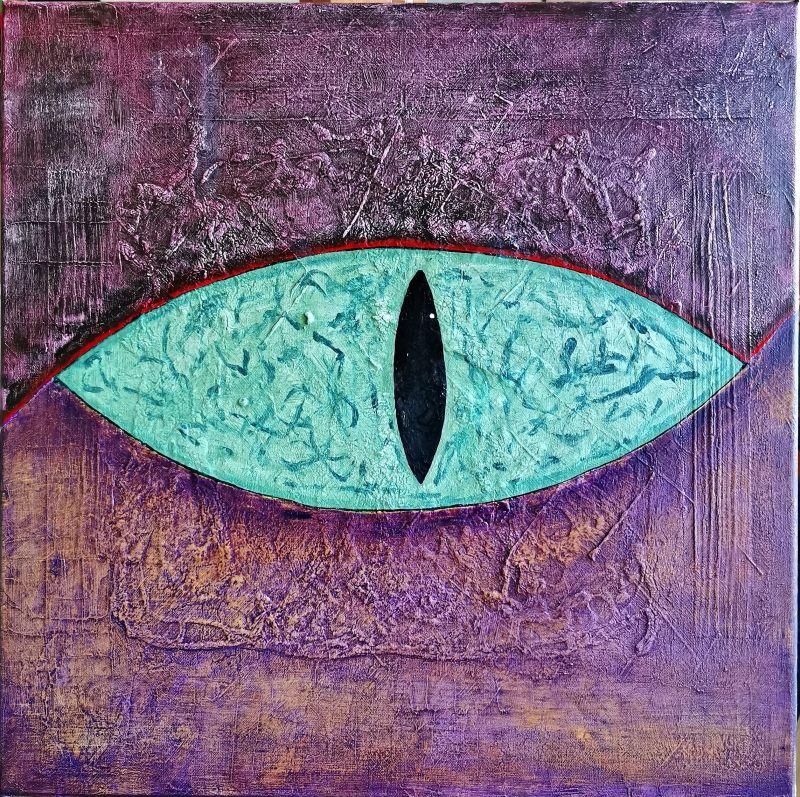 """Das Auge""          Öl + Acryl + Mixed Media     50 x 50 cm"