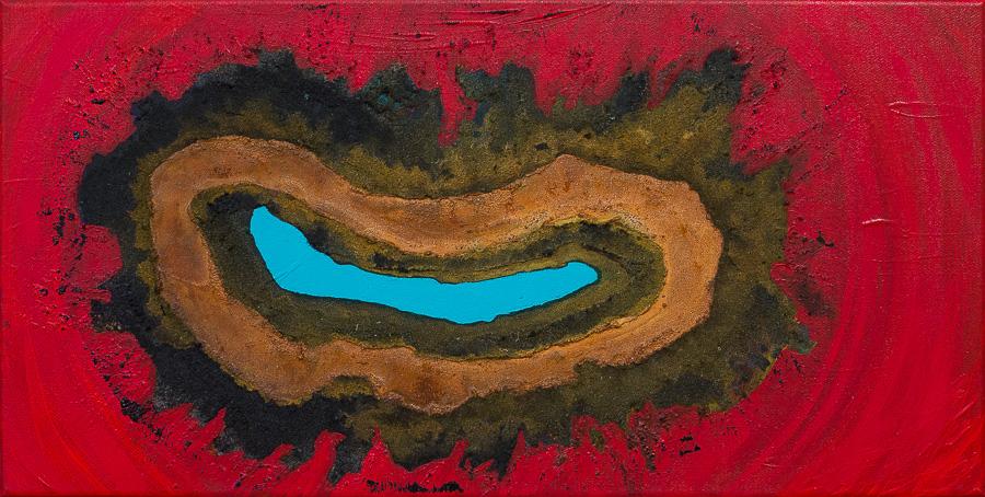 """""""Bocca della Verità""""          Acryl + Oxydation     30 x 60 cm"""