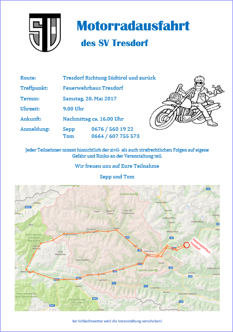 """Die """"Abteilung Auspuff"""" des SV startet am Samstag ... in Richtung Südtirol"""