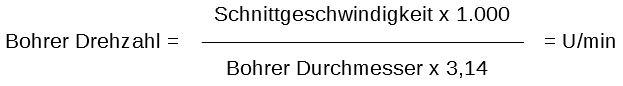 Bohrer Drehzahl Formel, Bohrerdrehzahl Formel, Bohrer Schnittgeschwindigkeit berechnen