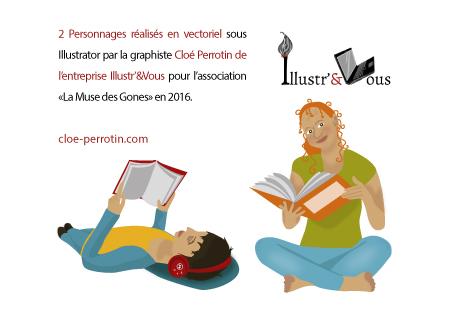 Visuels vectoriels sur les thèmes de la lecture et littérature, réalisés par la graphiste Cloé Perrotin pour l'Association La Muse des Gones