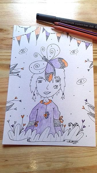 Fille au papillon illustration à la demande de Cloé Perrotin