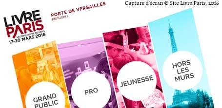 """Capture d'écran du site du Salon du Livre de Paris """"Livre Paris"""" 2016"""