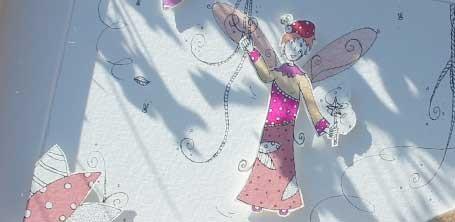 """Détail de la fée des coccinelles illustrée en papier découpé par Cloé Perrotin pour l'émission """"Tous Ensemble"""" de Thauvenay en 2015"""