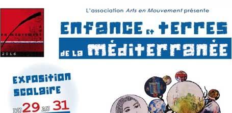 """Haut de l'affiche de l'exposition """"Enfance et Terres de la Méditerranée"""" avec la participation des livres numériques gratuits de Majuscrit"""