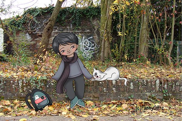 Illustration de Fanny Offre d'un garçon et d'un chat sur un photomontage pour l'interview sur le site de Cloé Perrotin