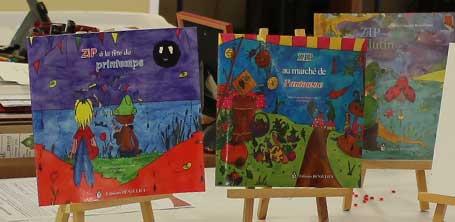 La trilogie fantastique jeunesse de Zip le lutin sur chevalets à la bibliothèque de Dompierre-sur-Besbre