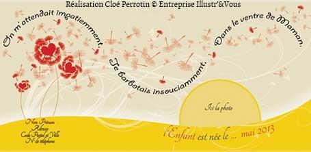 Illustration d'un faire-part de naissance réalisée par la graphiste et illustratrice Cloé Perrotin de l'entreprise Illustr'&Vous