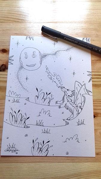 Dragon à la lune illustration à la demande de Cloé Perrotin