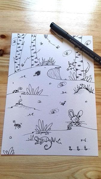 Animaux de la forêt illustration à la demande de Cloé Perrotin