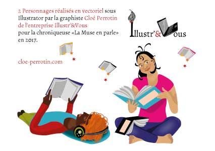 Visuels vectoriels sur les thèmes de la lecture, réalisés par la graphiste Cloé Perrotin pour la chroniqueuse littéraire La Muse en parle en 2017