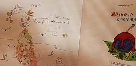 Dédicace de Cloé Perrotin pour un jeune lecteur à Yzeure en 2016