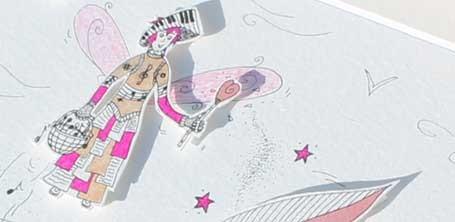"""Détail de la fée de la musique illustrée en papier découpé par Cloé Perrotin pour l'émission """"Tous Ensemble"""" de Thauvenay en 2015"""