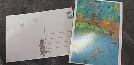 Exemple d'une carte postale de Moka la loutre recto/verso