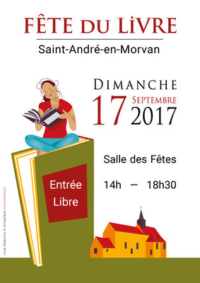 Réalisation par la graphiste Cloé Perrotin de l'affiche de la Fête du Livre et de la Carte Postales 2017 de Saint-André-en-Morvan