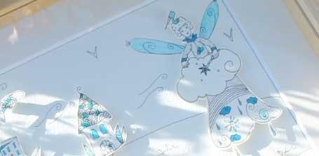 """Détail de la fée du ciel illustrée en papier découpé par Cloé Perrotin pour l'émission """"Tous Ensemble"""" de Thauvenay en 2015"""