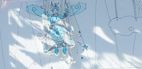 """Détail de la fée du théâtre illustrée en papier découpé par Cloé Perrotin pour l'émission """"Tous Ensemble"""" de Thauvenay en 2015"""