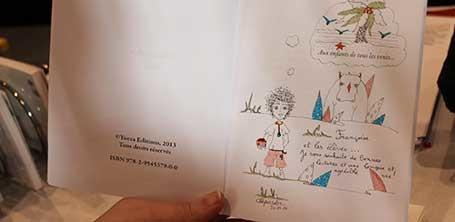 """Détail d'une dédicace du livre """"Enfants des rues"""" par Cloé Perrotin"""