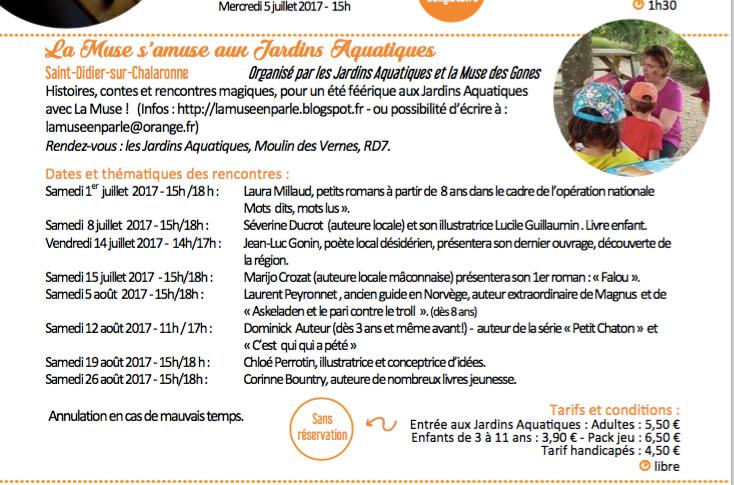 Programme des visites et d'animations de l'été de l'Office de Tourisme Val de Saône Centre au Parc des Jardins Aquatiques avec Cloé Perrotin et La Muse