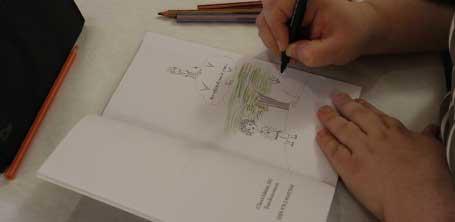 """Dédicace de l'illustratrice Cloé Perrotin pour Yucca Editions pour le livre """"Enfants des rues"""" en 2016"""