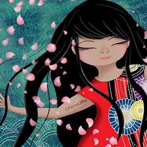 Illustration de Fanny Offre d'une fille heureuse allongée dans l'herbe pour l'interview sur le site de Cloé Perrotin